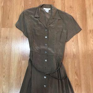 100% silk elegant maxi shirt dress