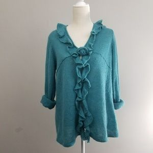 Sigrid Olsen | blue rose ruffled cardigan