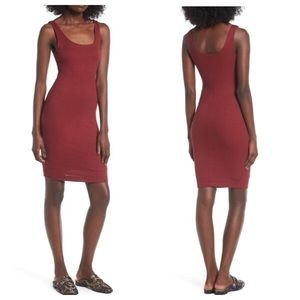Lush Deep Red Ribbed Mini Bodycon Dress Size Small