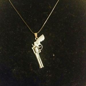 Large revolver gun necklace