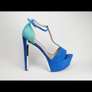 JustFab Giovana T-Strap Blue Chrome Heels