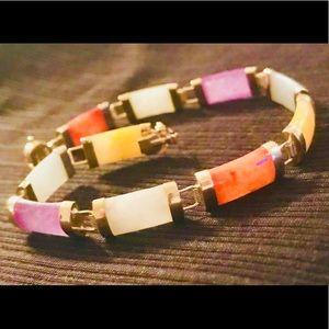 "14K Yellow Gold & Jadeite Stone Bracelet  7"""