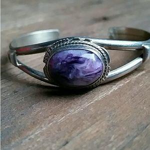 Zuni Sterling Silver Amethyst Cuff Bracelet