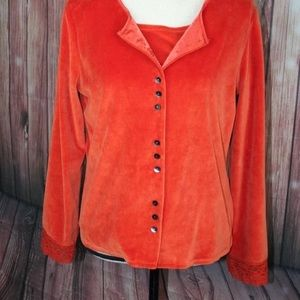 2 pc Orange Velour 2 piece twin set. Cardigan