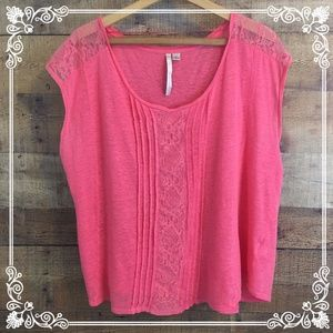 Lauren Conrad coral pink linen lace blouse