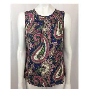 Talbots Multi-Color Paisley Silk Blouse Size 2