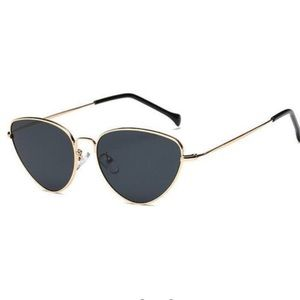 Black & Gold Thin Frame Cat Eye Sunglasses
