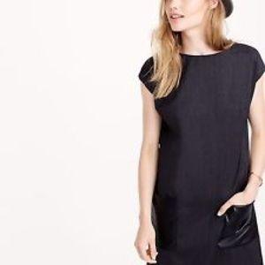 J. Crew Faux Leather Pocket Shift Dress / Size 4