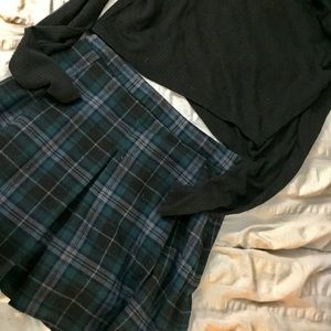 High Waist Pleated Flannel Schoolgirl skirt-Ecoté