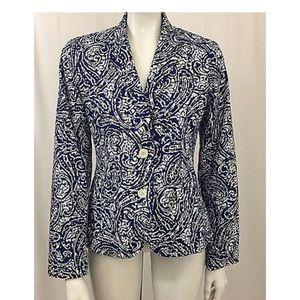 Talbots Blue White Cotton Blazer Jacket Size 10