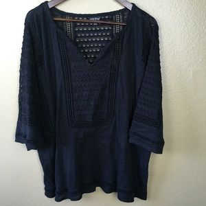 Lucky Brand 2XL Tunic Crochet Boho Black Shirt