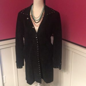 Express Suede Coat with Silver Studs