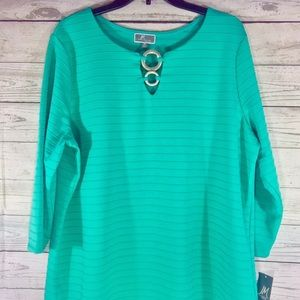 JM COLLECTION PLUS SIZE EMBELLISHED KEYHOLE TUNIC