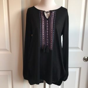 NWT Faded Glory Embroidered Boho Tunic
