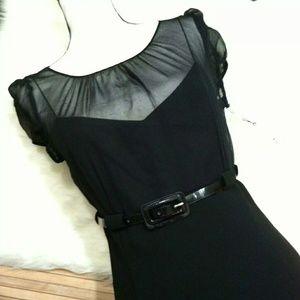 Calvin Klein Dress Belted Cap Sleeve Tie Back