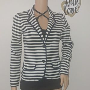 Ann Taylor Petite White and Blue knit blazer SzXS