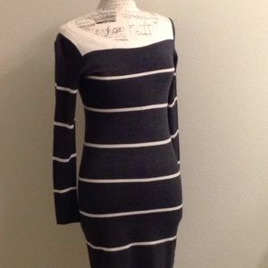 NWT GAP Charcoal/Cream Wool Blend Sweater Dress XS