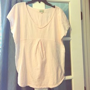 Anthropologie pink mixed media top S