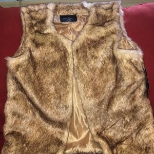 Faux Fur  Cream-Tan Vest