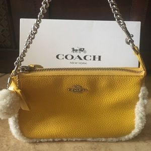 Coach Large Leather &Shearling Wristlet. NWT!