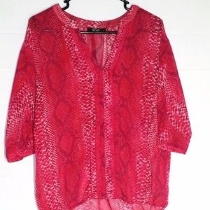 ANA Blouse L Hot Pink Fuschia Sheer Animal Print