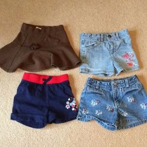 3- girls 4T shorts 1- skirt.