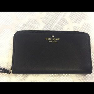 Kate Spade Black Leather Wallet Wristlet