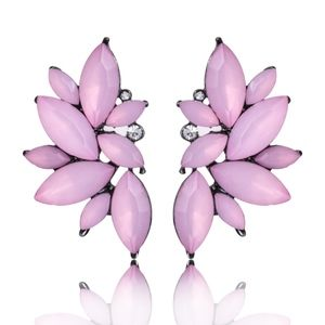 Light Pink Crystal Floral Statement Earrings