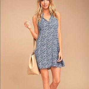Lulus Show You Care Blue Floral Swing Dress L