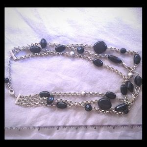 Sterling Silver and Black Stone Necklace