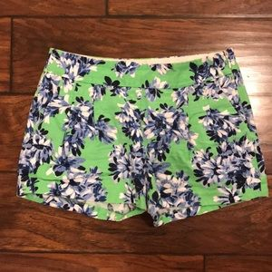 J Crew Blue and Green Floral Print Shorts Size 2
