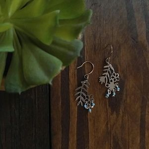 Delicate blue and silver leaf/ flower earrings