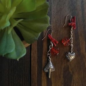 Red and silver strawberry/ mushroom earrings