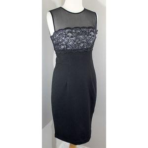 Maggi London Sz 4 Black Illusion Lace Dress
