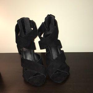 Black suede open toes heels