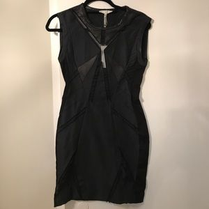 IRO black dress w open organza insets and leather