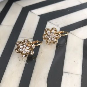 Gold flower earrings with clear crystal detail