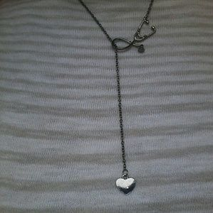 ♡ Cool NEW BLACK Stethoscope/ Heart Necklace ♡