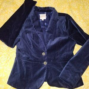Modcloth Navy blue velvet blazer