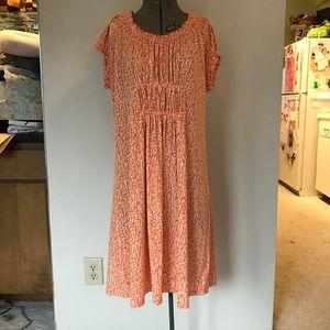 Michael Kors orange and white short sleeve dress