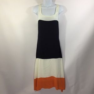 Bailey 44 Color Block Midi Dress 100% Silk