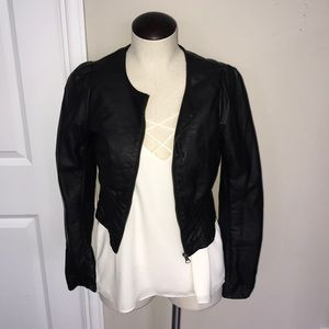 DIVIDED by h&m faux leather bomber jacket black