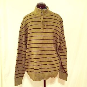 LL Bean Mens Half Zip Green Striped Sweater Large
