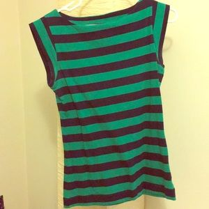 Cute navy and green striped gap top