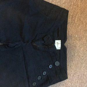 Anthropology Black cotton/linen pants