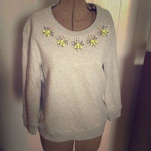 J crew grey sweatshirt with jeweled collar
