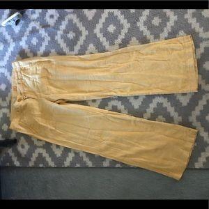 Yellow linen wide leg trouser