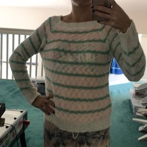 White and mint geeen Millau Sweater
