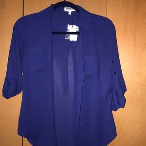 Express slim fit navy blue button up BRAND NEW