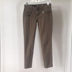 J. Crew Toothpick Zip Jeans Army Green